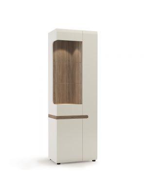 Chelsea White Gloss Tall Glazed Narrow Display Unit (Right Hand)