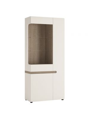 Chelsea White Gloss Tall Glazed Wide Display Unit (Right Hand)