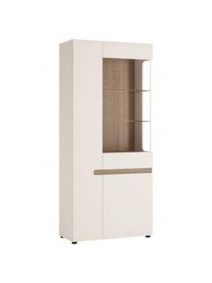 Chelsea White Gloss Tall Glazed Wide Display Unit (Left Hand)
