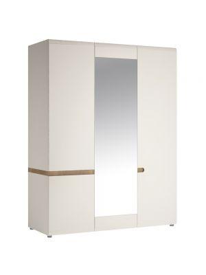 Chelsea White Gloss 3 Door Wardrobe with Mirror