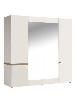 Chelsea White Gloss 4 Door Wardrobe with Mirrors