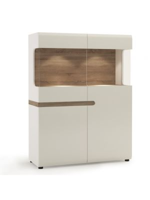 Chelsea White Gloss Low Wide Display Cabinet