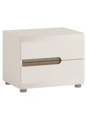 Chelsea White Gloss 2 Drawer Bedside