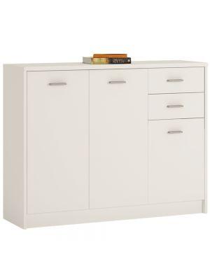 4 You Pearl White 3 Door 2 Drawer Wide Cupboard