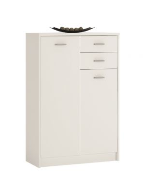 4 You Pearl White Tall 2 Door 2 Drawer Cupboard