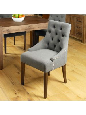 Mayan Walnut Accent Upholstered Dining Chairs (Pair)