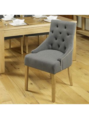 Mobel Oak Accent Upholstered Dining Chair (Pair)