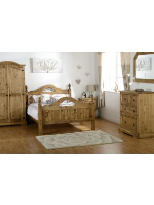Corona Scroll Double Bed with High Foot End