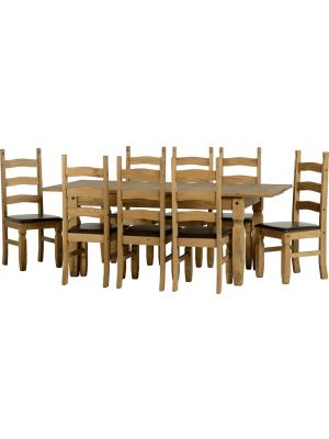 Corona 8 Seater Extending Dining Set with Seat Pads