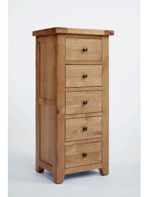 Devon Oak 5 Drawer Wellington