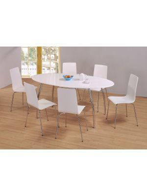 Fiji High Gloss Oval White Dining Set