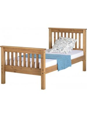 Monaco Distressed Wax Single Bed with High Foot End