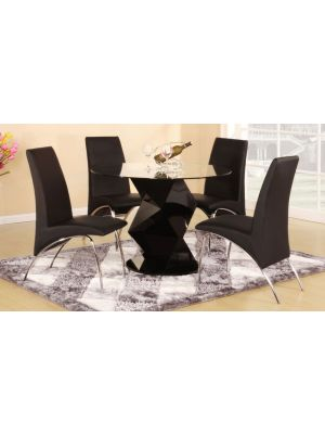 Rowley High Gloss Black Dining Set