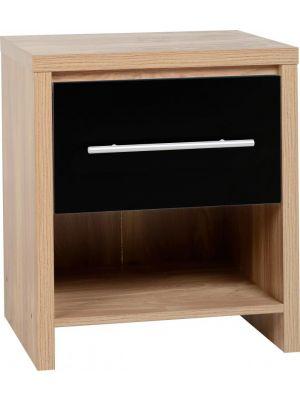 Seville Black 1 Drawer Bedside