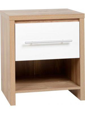 Seville White 1 Drawer Bedside Cabinet