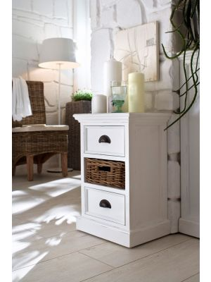 Whitehaven Painted Small Cabinet With Rattan Basket