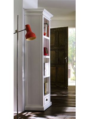 Whitehaven Painted Tall Narrow Bookcase With Drawer