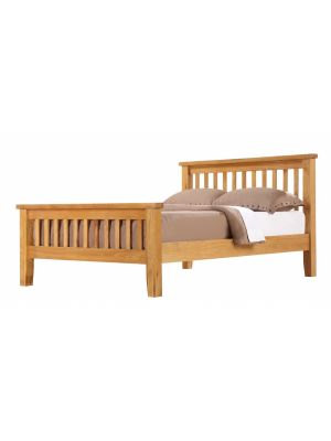 Acorn Solid Oak Double Bed with High Foot End