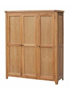 Acorn Solid Oak 3 Door Full Hanging Wardrobe