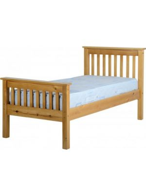 Monaco Antique Pine Single Bed with High Foot End