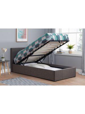 Berlin Fabric Grey Ottoman Single Bed