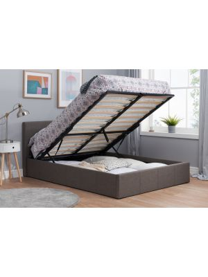 Berlin Fabric Grey Ottoman Double Bed