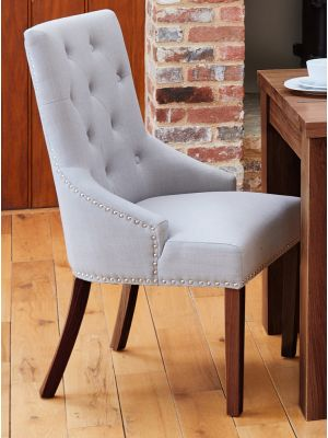 Shiro Walnut Accent Narrow Back Grey Upholstered Dining Chairs (Pair)