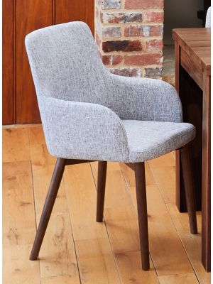 Shiro Walnut Light Grey Chairs (Pair)