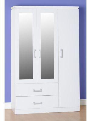 Charles White 3 Door 2 Drawer Mirrored Wardrobe