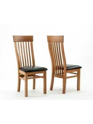 Devon Oak Curved Back Dining Chairs (Pair)