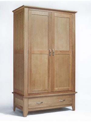 Cambridge Oak 2 Drawer Wardrobe with Drawer
