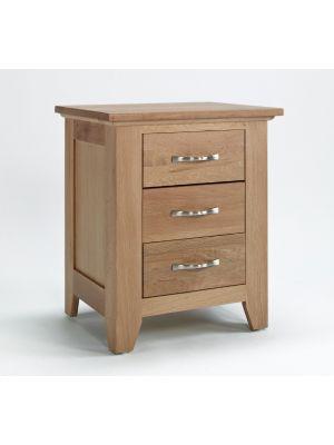 Cambridge Oak 3 Drawer Bedside Cabinet