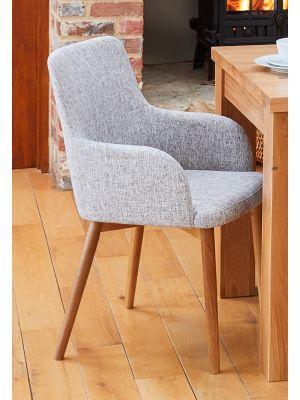 Mobel Oak Light Grey Chairs (Pair)