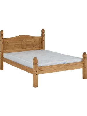 Corona Double Bed Low Foot End in Distressed Waxed Pine