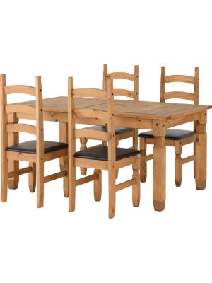 Corona 4 Seater Extending Dining Set with Seat Pads