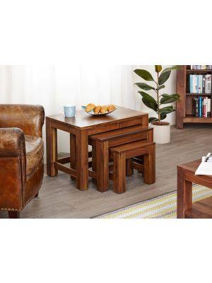 Mayan Walnut Nest of 3 Coffee Tables