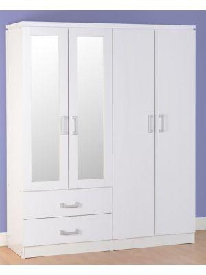 Charles White 4 Door 2 Drawer Mirrored Wardrobe