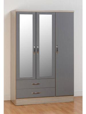 Nevada 3 Door 2 Drawer Wardrobe in Grey Gloss