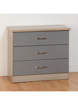 Nevada 3 Drawer Chest in Grey Gloss