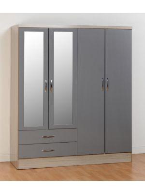 Nevada 4 Door 2 Drawer Wardrobe in Grey Gloss