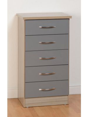Nevada 5 Drawer Narrow Chest in Grey Gloss