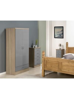 Nevada 2 Door 1 Drawer Wardrobe in Grey Gloss