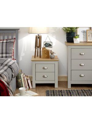 Lancaster Grey 2 Drawer Bedside