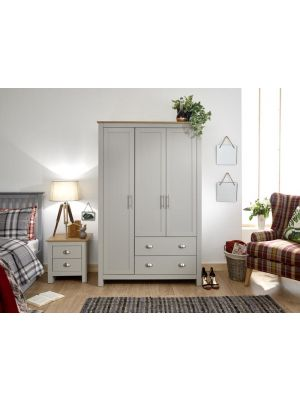 Lancaster Grey 3 Door 2 Drawer Wardrobe