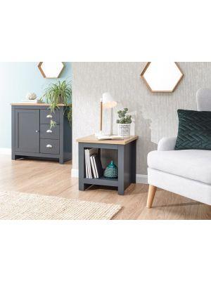 Lancaster Slate Blue Side Table with Shelf