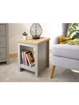 Lancaster Grey Side Table with Shelf