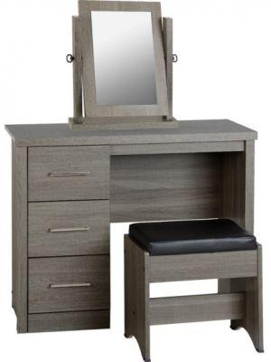 Lisbon Black Grain Dressing Table Set with Mirror