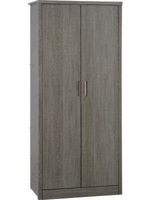 Lisbon Black Grain 2 Door Wardrobe