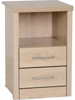 Lisbon 2 Drawer 1 Shelf Bedside Cabinet in Light Oak