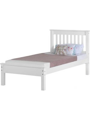 Monaco White Single Bed with Low Foot End